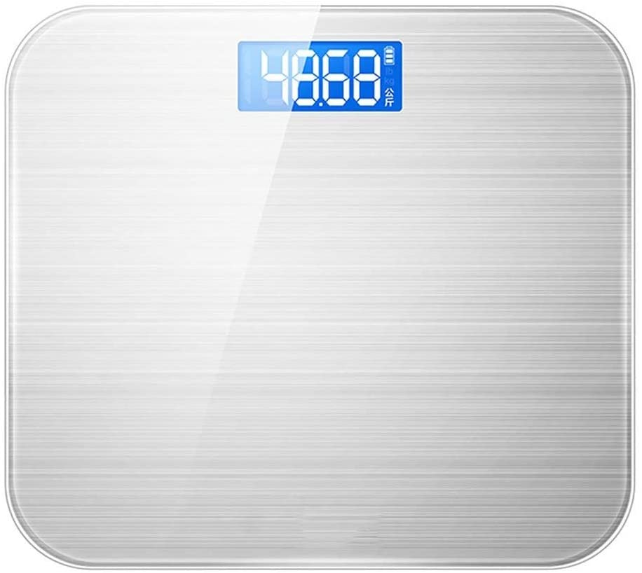 CJVJKN Weight Scale, High Accuracy Digital Bathroom Scale, Electronic Weighing Scales with Wide Tempered Glass Platform,Slim 5mm Design, 180kg Capacity, Silver