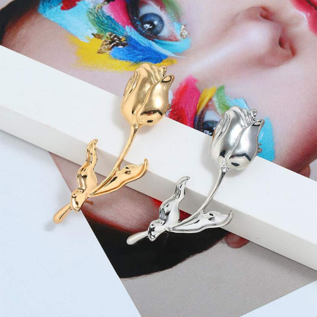 Metal Rose Tide Ear Bone Clip Ear Temperament Earrings (Left Gold)