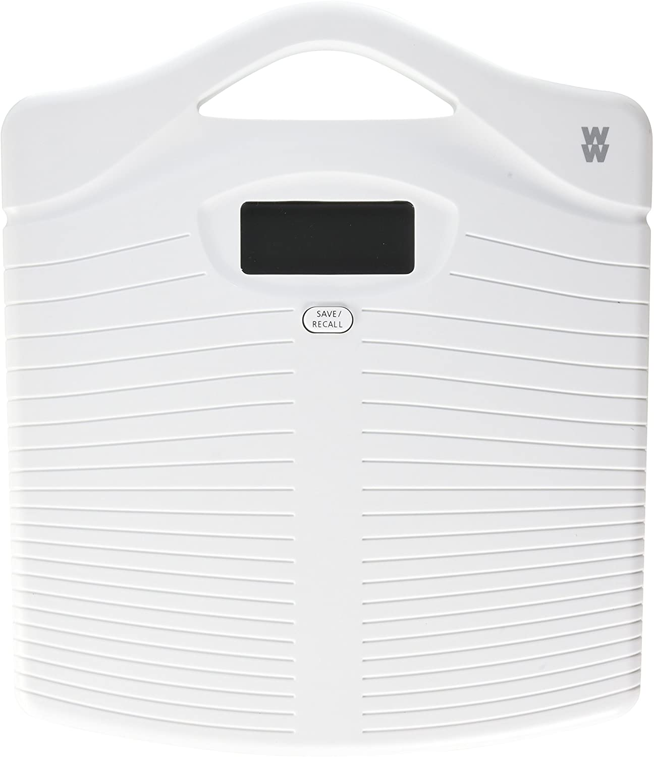 WW Scales by Conair Portable Precision Electronic Bathroom Scale with Handle, 330 lb. capacity, White