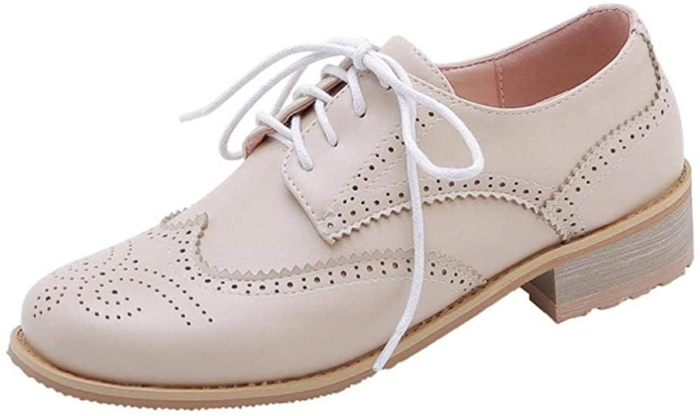 AicciAizzi Women Fashion Spring Shoes Flat Lace Up