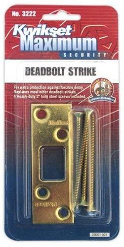 Kwikset Maximum Security Deadbolt Strike, Polished Brass #3222-01 3 CP