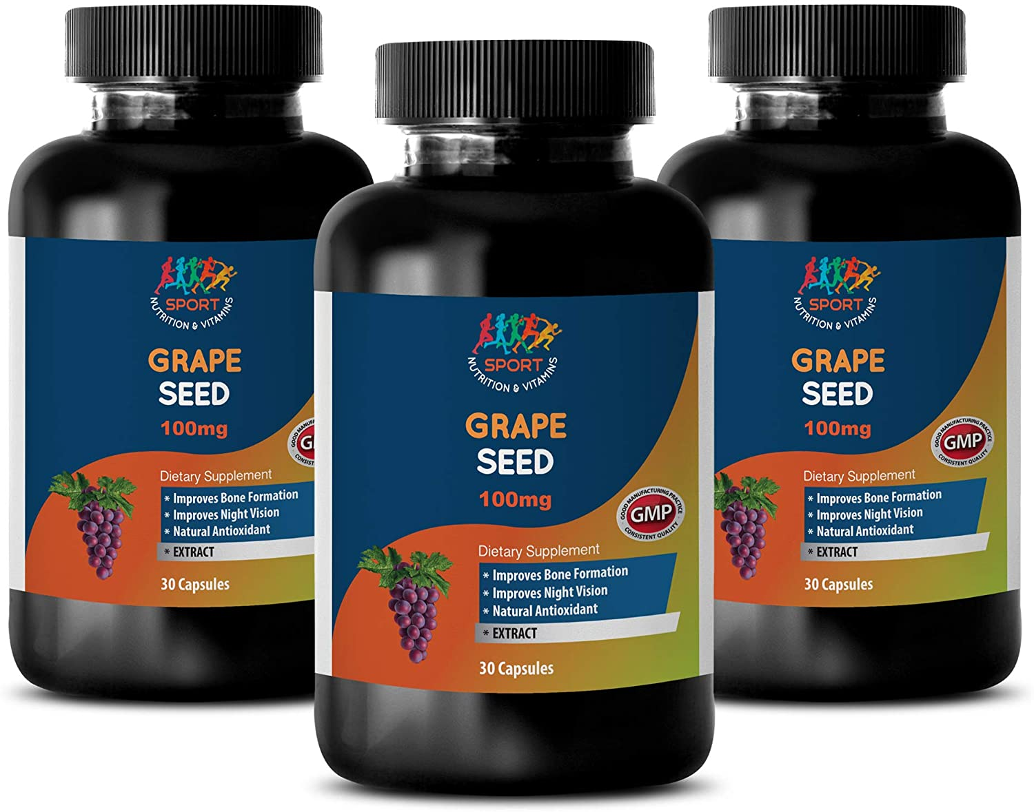 Anti Aging Supplements for Men - Grape Seed 100 MG - Dietary Supplement - grapeseed Extract Supplement - 3 Bottles 90 Capsules