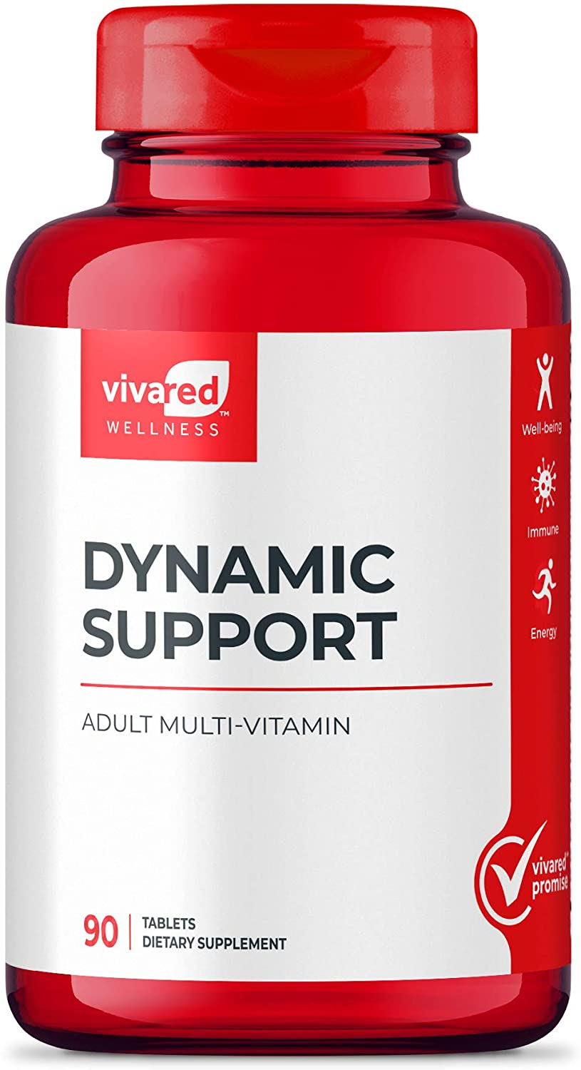 VivaRed Dynamic Support, Adult Multi-Vitamin, 42 Fruit and Vegetable Blend, 90 Count, Made in USA