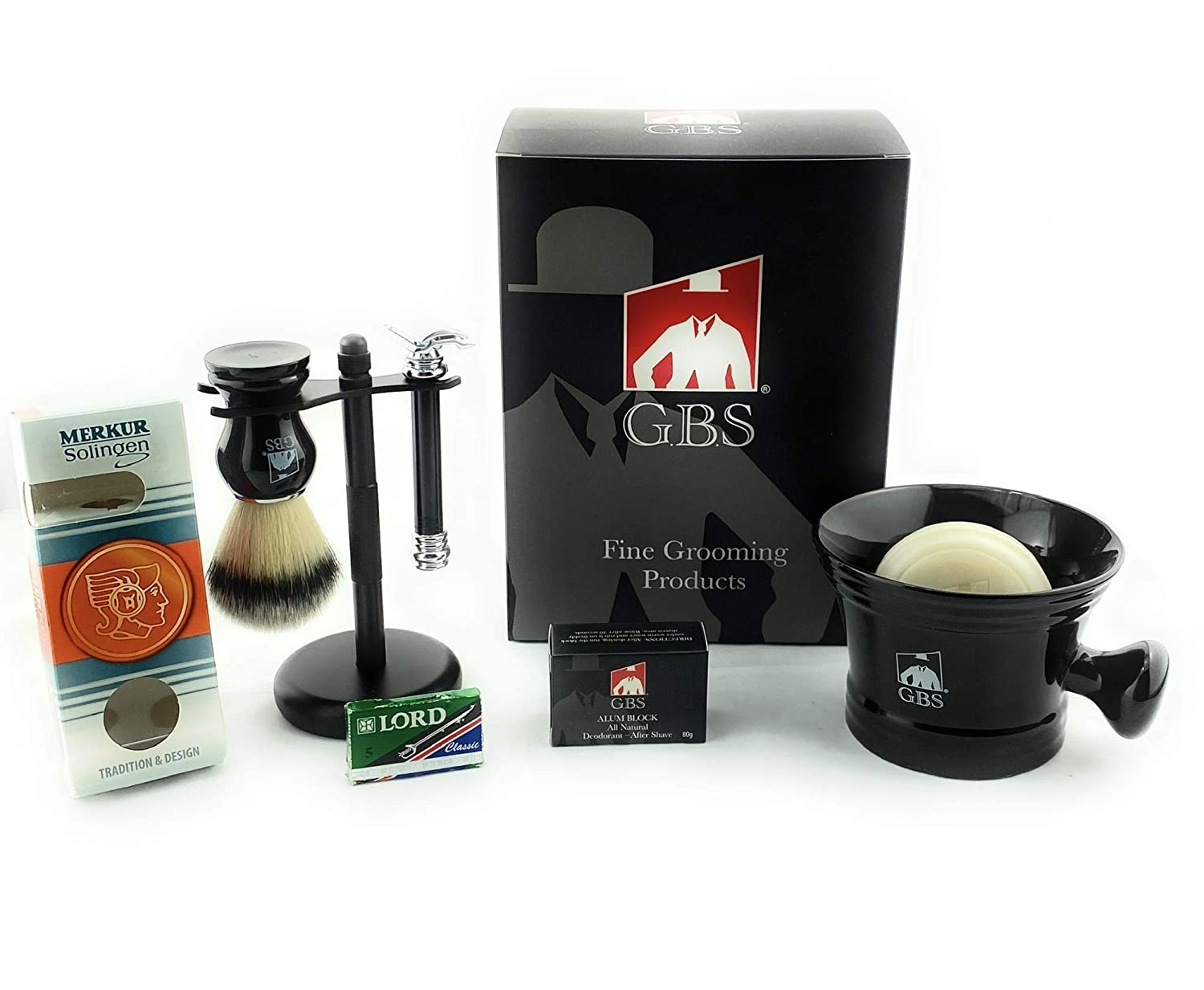 GBS Shaving Gift Set w/Germany Made MK 38011 Safety Razor 6 pc Set includes Mug Shaving Soap Badger Brush Stand and Razor Holiday Christmas Gift