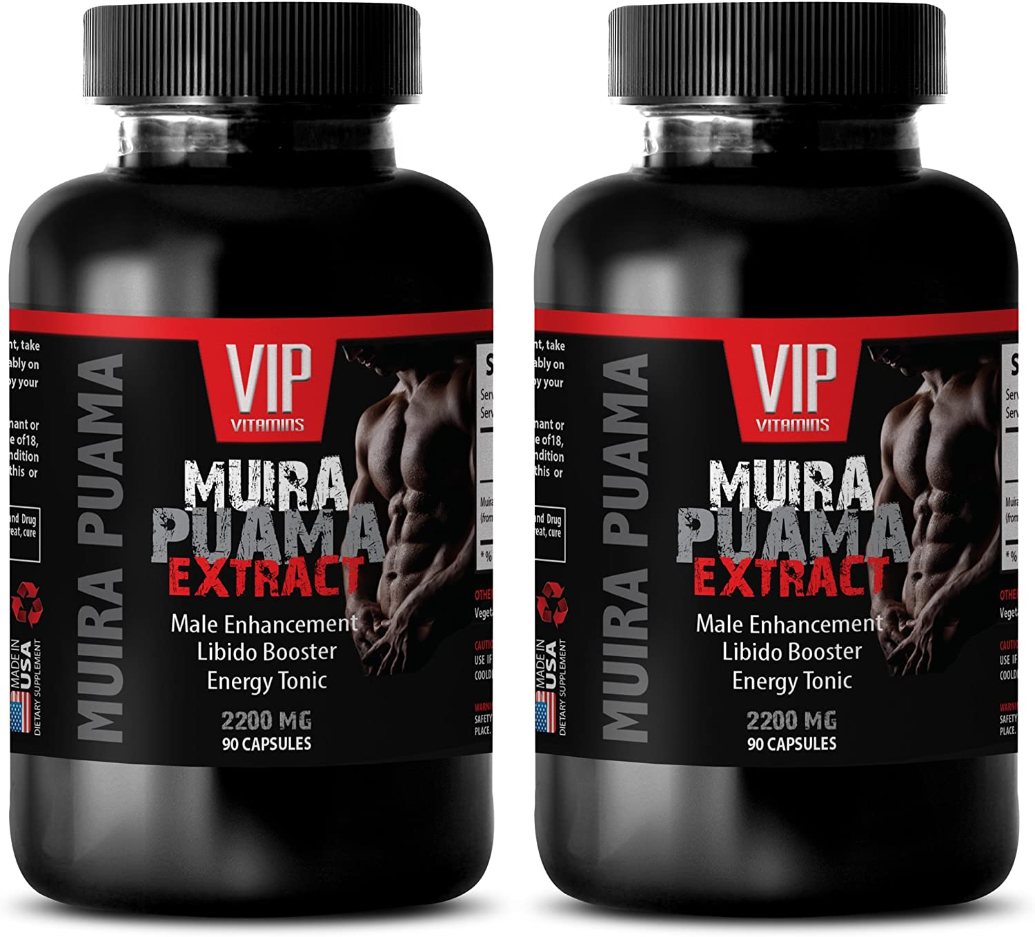 Enhancement Pills All Natural - Muira PUAMA - Male Enhancement - LIBIDO Booster - Energy Tonic - Brain Memory Booster - 2 Bottles (180 Capsules)