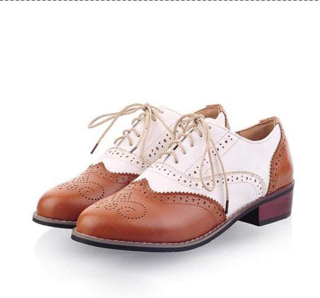 Mageed Anna New Vintage PU Lace Up Oxfords for Women Big Size Ladies Casual Flats Fashion Concise Carved Brogue Oxfords