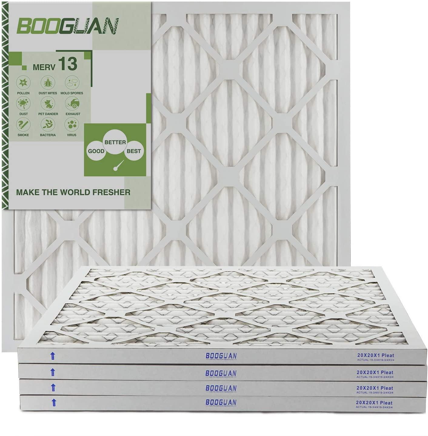 BOOGUAN 20x20x1 MERV13 Pleated AC Furnace Air Filter 4-Pack