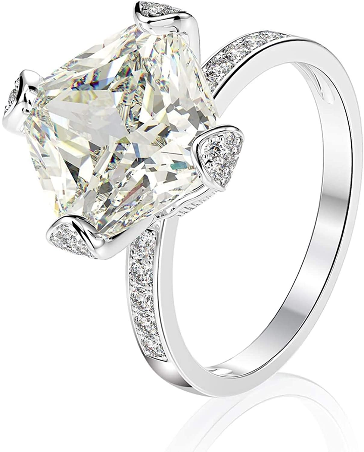 Beydodo Sterling Silver Rings Engagement for Women, Rings for Valentine S Day White Cushion Cubic Zirconia Size 5 to 9
