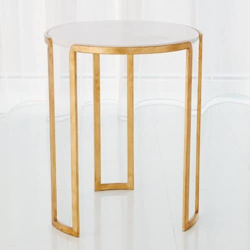 Global Views Elegant Mid Century Modern Linear Gold Accent Table | Round White Marble Classic