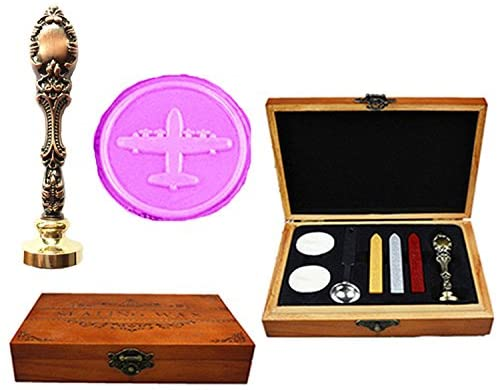MNYR Airplane Luxury Wood Box Red Brass Metal Peacock Wedding Invitations Gift Cards Paper Stationary Envelope Seals Custom Logo Wax Seal Sealing Stamp Wax Sticks Melting Spoon Stamp Wood Gift Box Kit