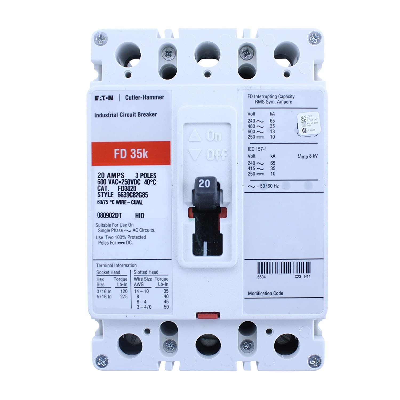 Cutler-Hammer FD3020 6639G82G85 Circuit Breaker, 3-Pole, 20 AMP, 600V