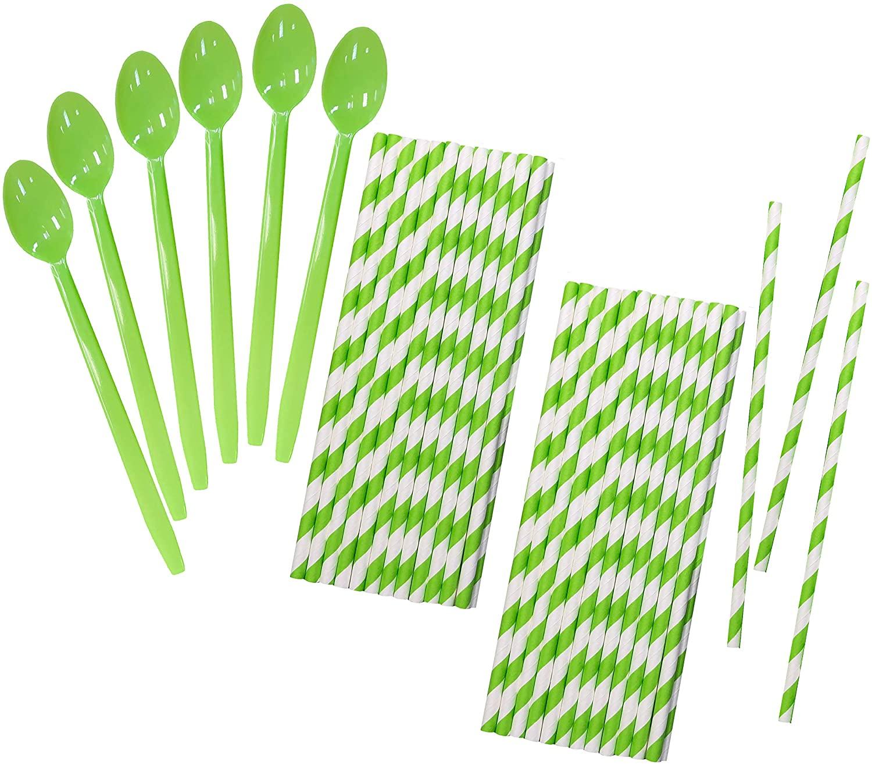 Lime Green Plastic Sundae Soda Spoons - 8 Inch - Lime Striped Paper Straws - 50 Each