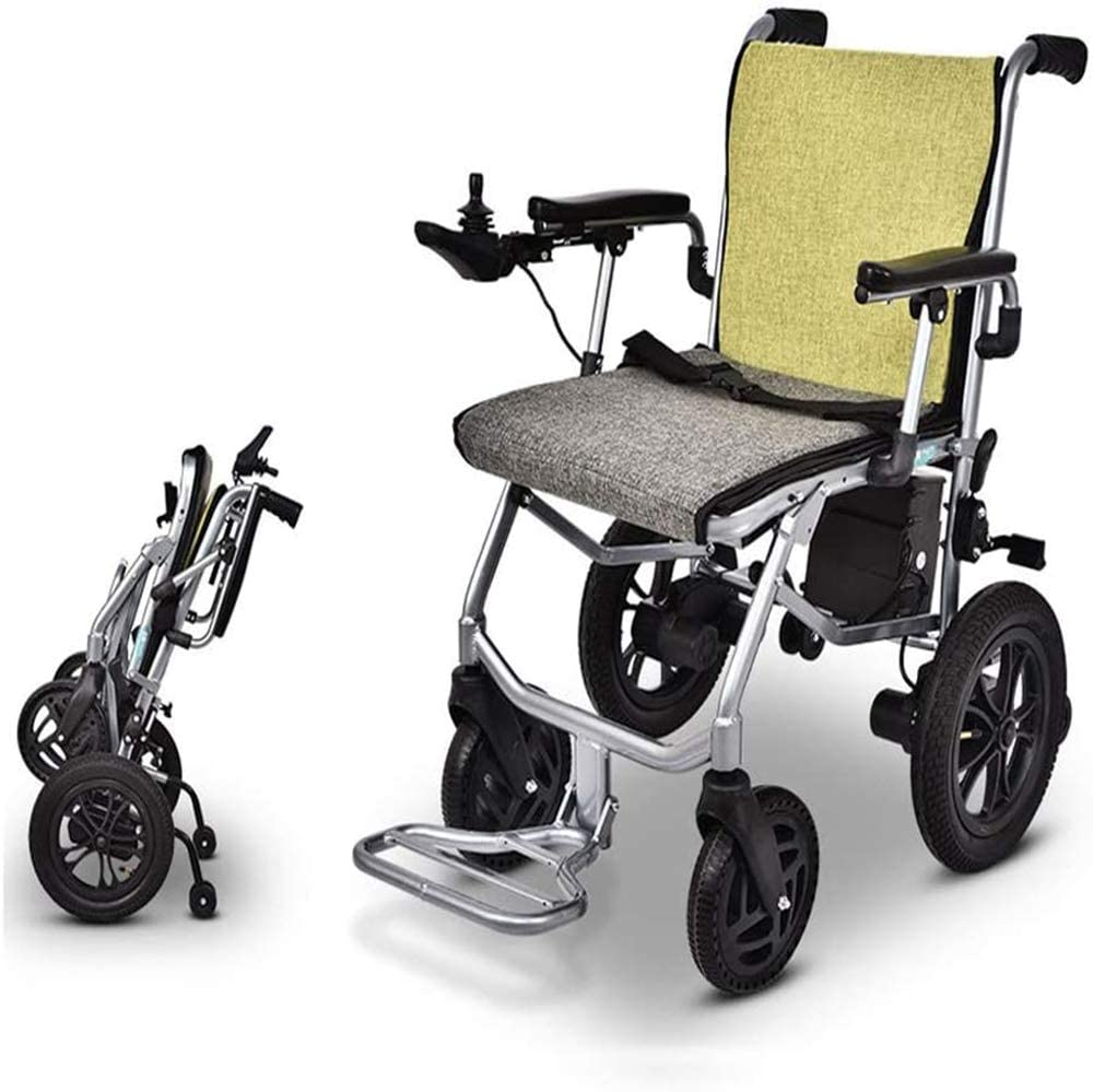 YWS Electric Wheelchair Lightweight Wheelchair, Dual-Function Heavy-Duty, Open/Fast-Fold Compact Electric Chair Drive with Power Or Manual Wheelchair