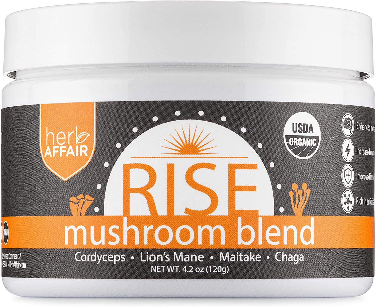 Mushroom Powder Supplement - Organic Full Spectrum Medicinal Mushroom Complex - Lions Mane, Chaga, Cordyceps and Maitake Shrooms - Mix in Coffee or Smoothie - Helps Focus, Energy and Immune System