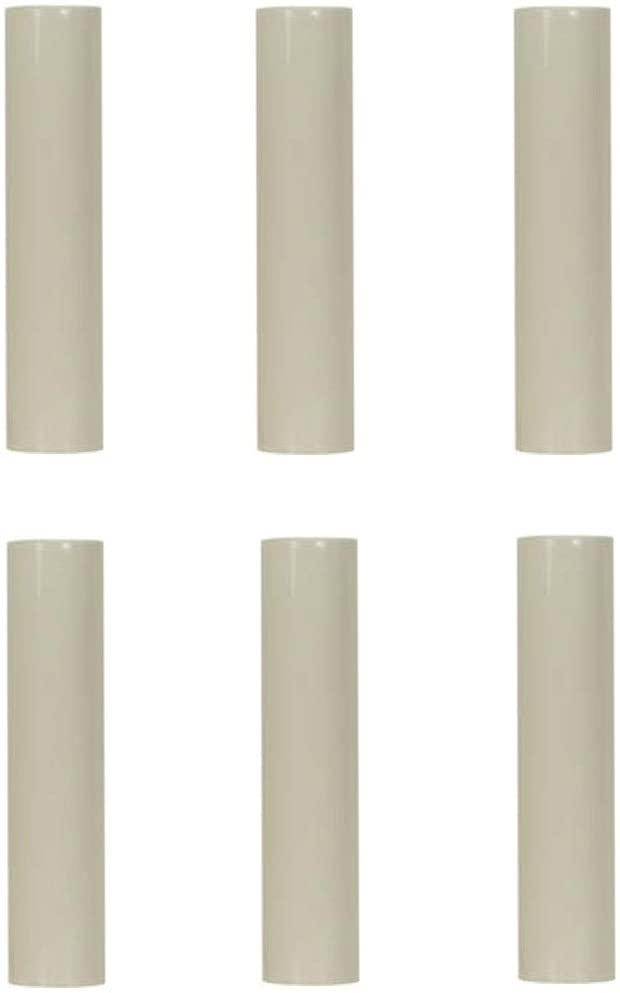 Creative Hobbies 6 Inch Tall Cream Plastic Candle Covers Sleeves Chandelier Socket Covers - Pack of 6 - Slip Over E12 Candelabra Base Sockets