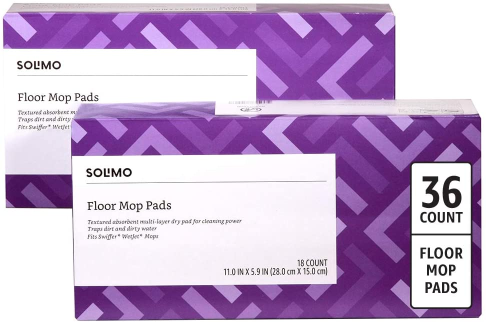 DHgate Brand - Solimo Dry Floor Mop Pads, 36 Count (2 Packs of 18 Cloths)