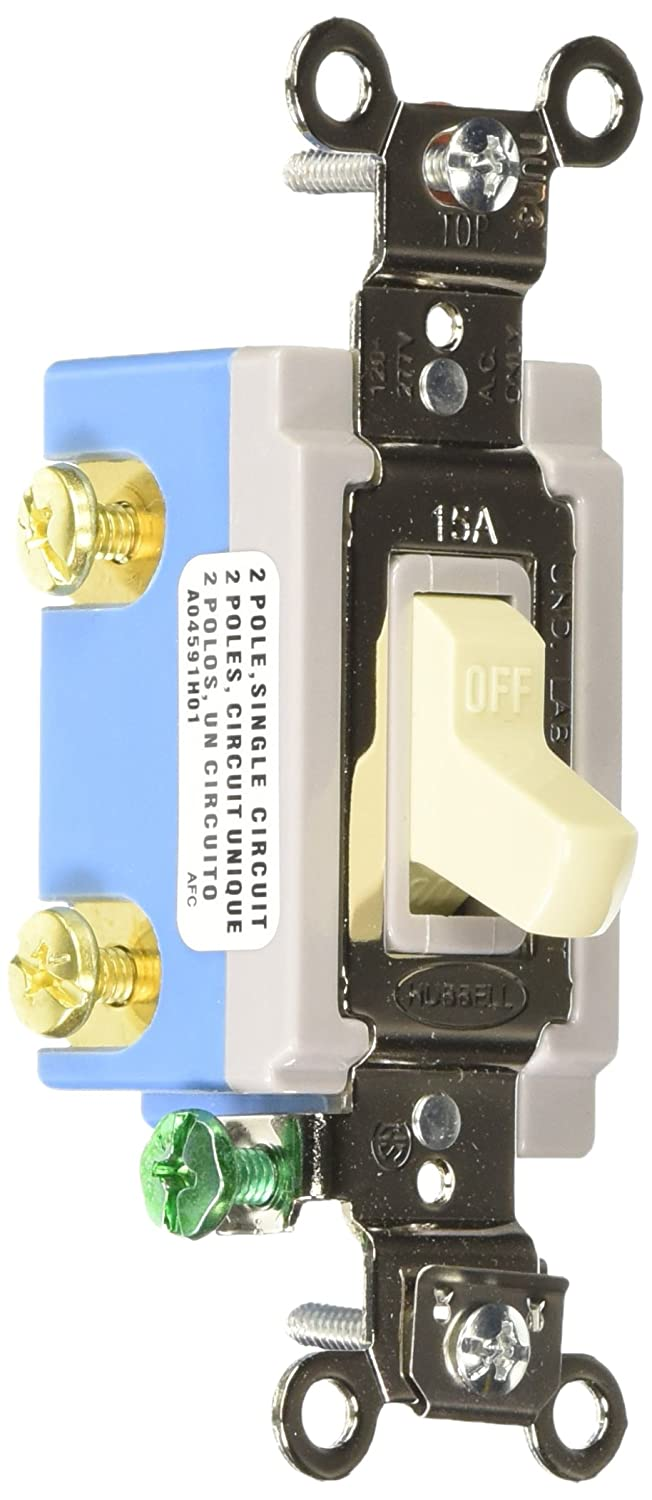 Hubbell HBL1202I Double Pole Toggle, Industrial Grade, 15 amp, 120/277V, Ivory