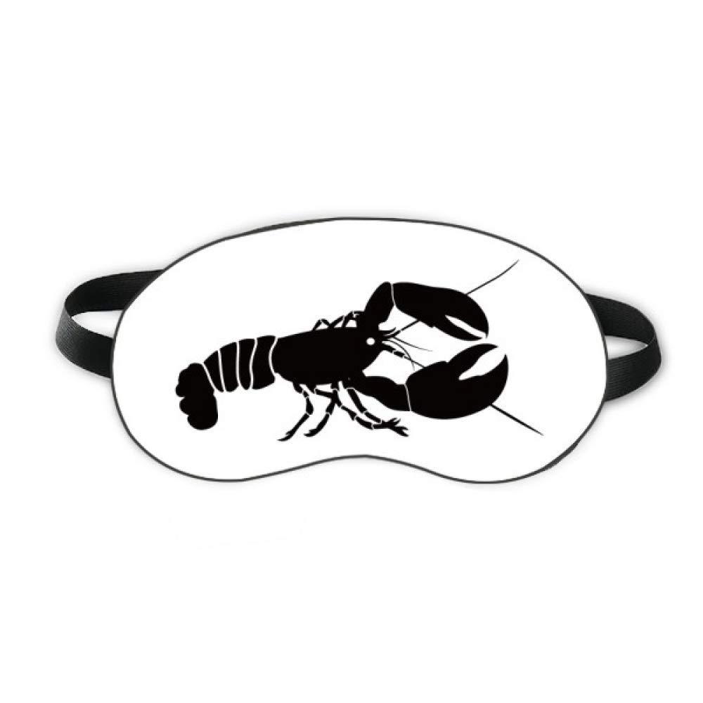 Shrimp Marine Life Black Illustration Sleep Eye Shield Soft Night Blindfold Shade Cover