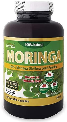 Herba Moringa Leaf Powder - Nutrition Rich Super Food, Vegan, Non-GMO, Premium, Anti-Oxidants, 100% Natural, Organic, 180 Vegetable Capsules, Obtained NPN# 80051457 from Health Canada