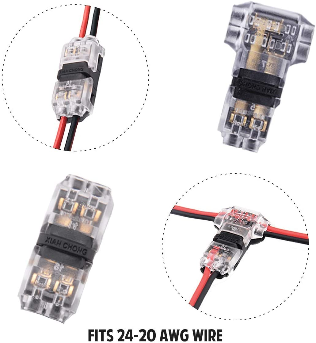 Low Voltage Wire Connectors for Small Gauge Wire, Solderless No Wire Stripping T Tap Connectors 12 Pack, 2 Way 2 Pin Connectors 12 Pack