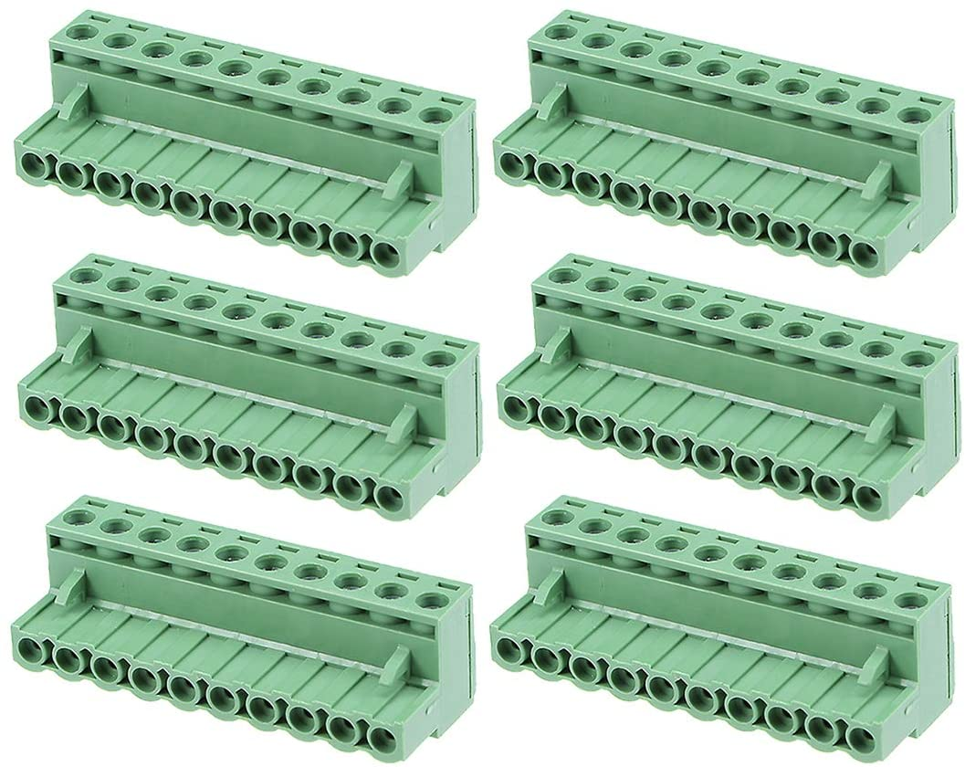 uxcell 6Pcs AC 300V 15A 5.08mm Pitch 10P Flat Angle Needle Seat Insert-In PCB Terminal Block Connector Green