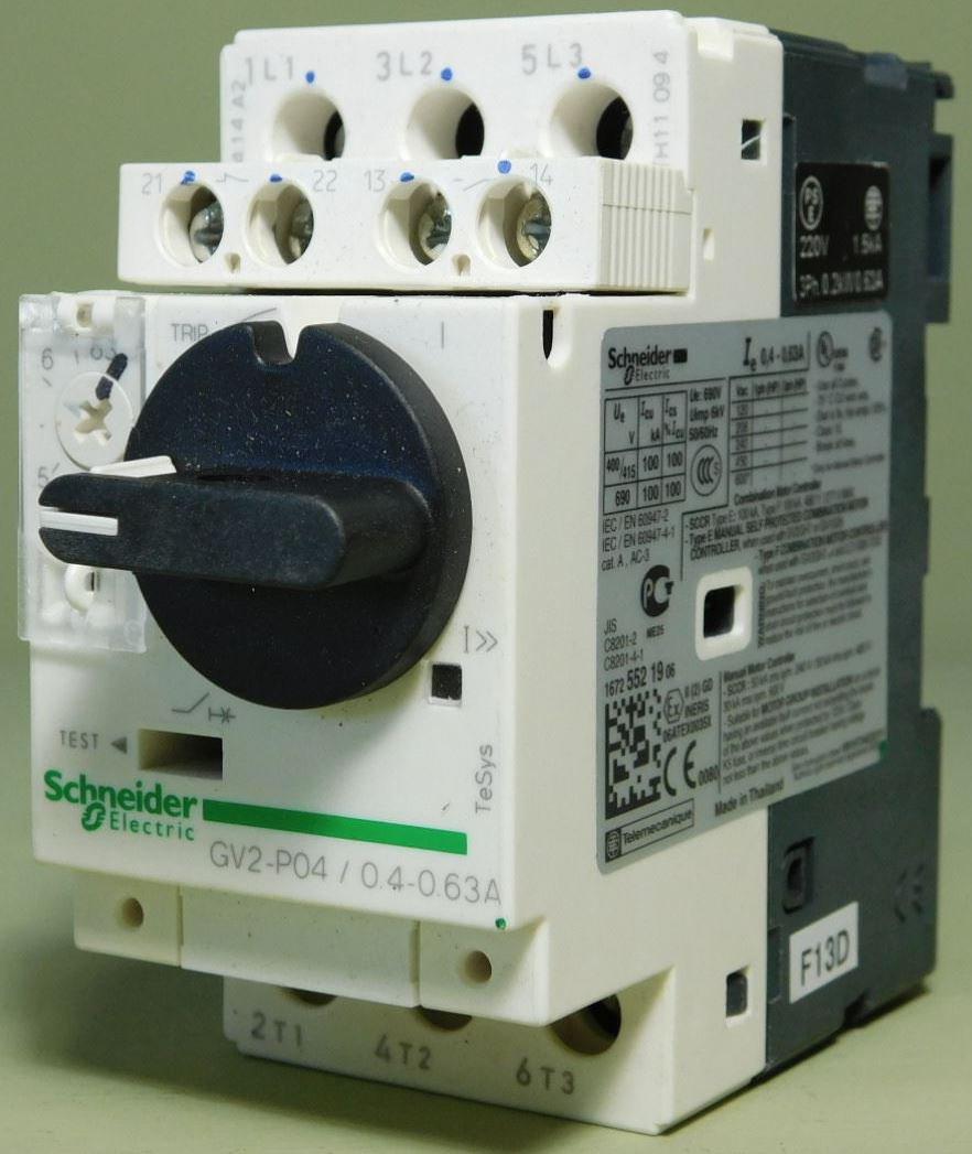 Schneider GV2 P04 MOTOR CIRCUIT BREAKER 0.4-0.63A