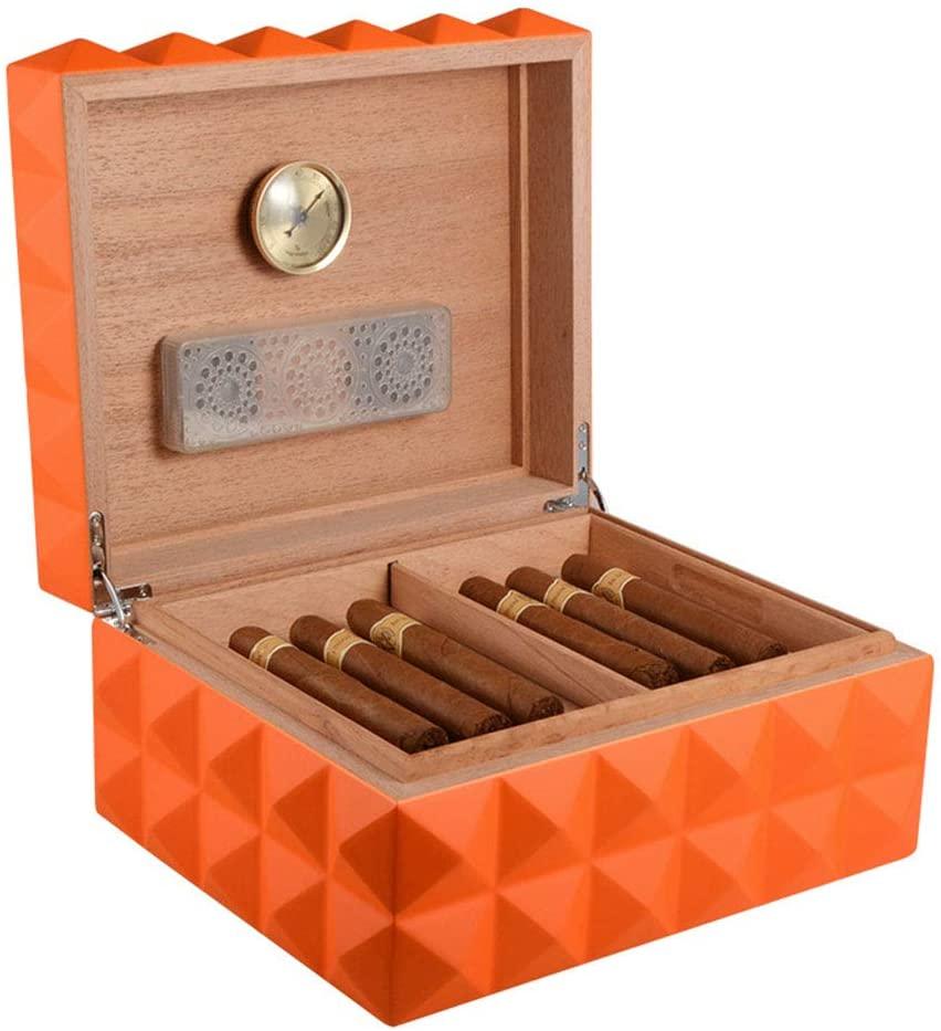 Lee Lam High Gloss Cigar Humidor Cigar Box, Handmade Wood Portable Light Weight Cigar Box Gift with Hygrometer and Humidifier,Orange