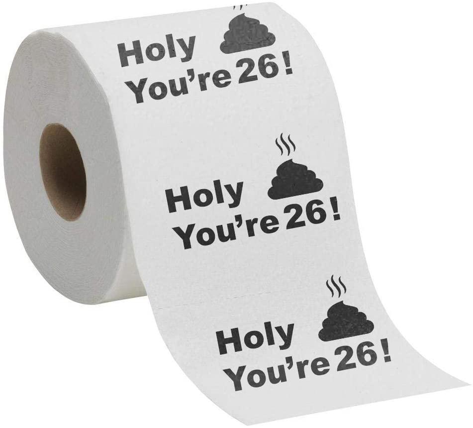 26th Birthday Gift Present Toilet Paper - Happy Twenty Sixth 26 Prank Funny Novelty Gag Joke Gift - Holy Crap