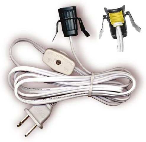National Artcraft Replacement Lamp Cord Has Clip-in Candelabra Socket, Rotary Switch And Molded End Plug. 6 Ft.