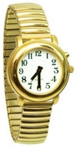 Ladies Deluxe Talking Wrist Watch Gold Tone with Expansion (Stretch) Band