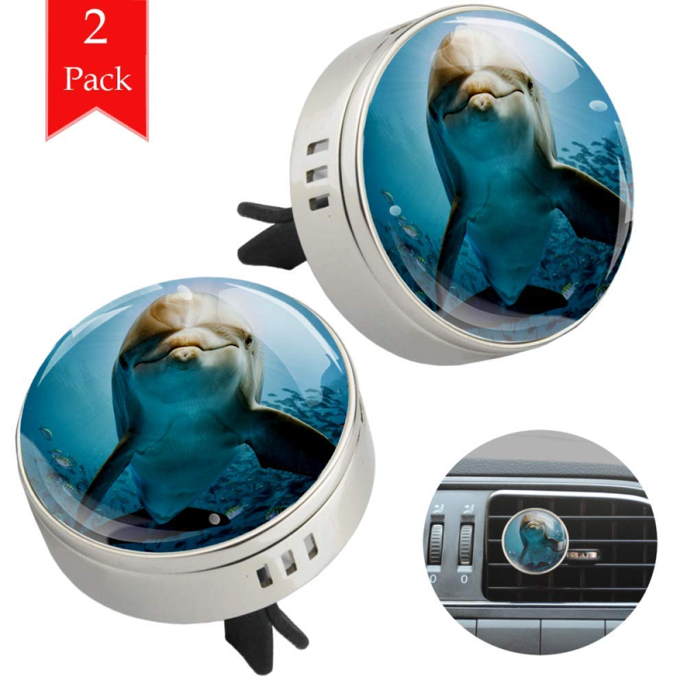 Dolphins In The Ocean two silver air freshener aromatherapy essential oil diffusers for car vent clip portable with four refill pads 1.33x1.83in