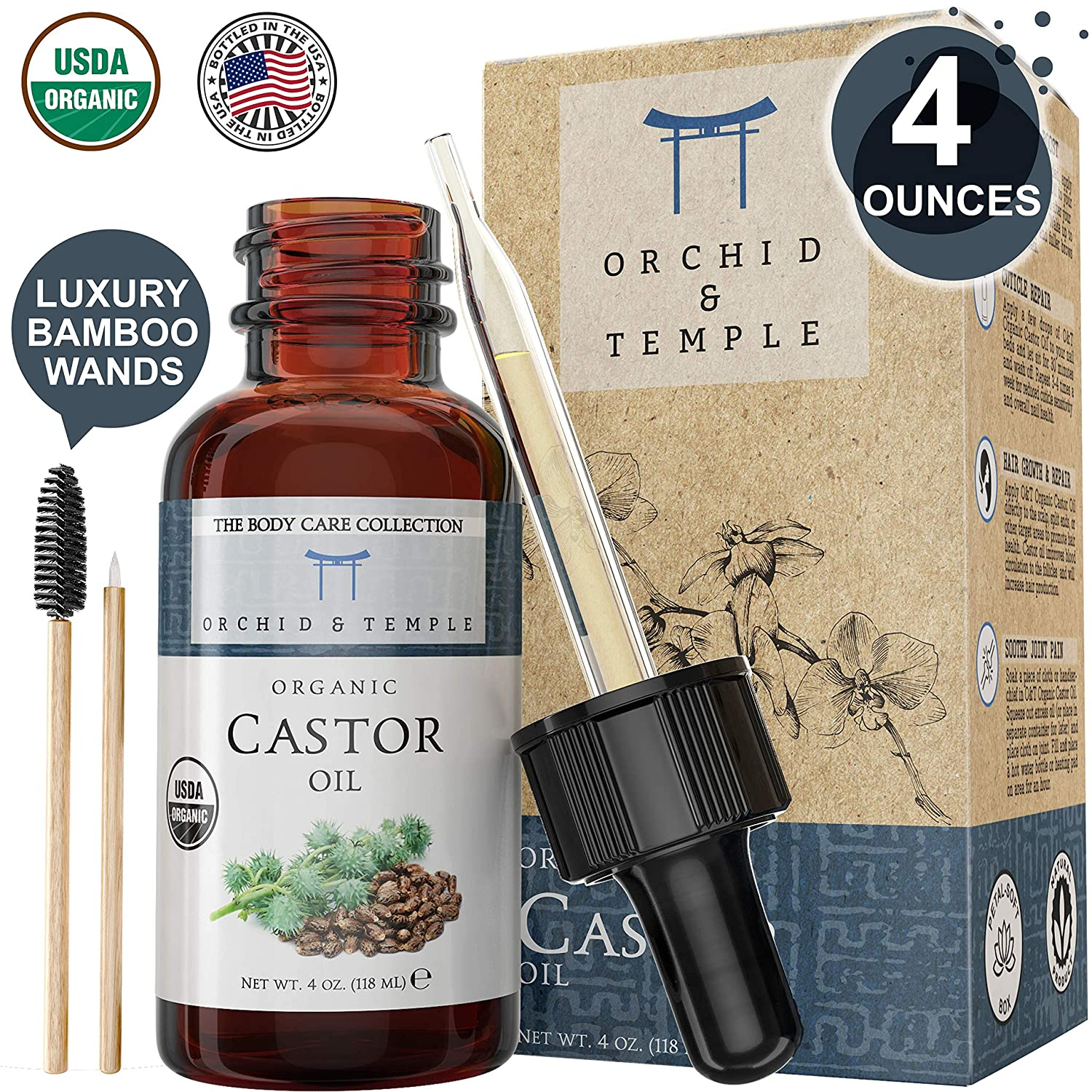USDA Certified Organic Castor Oil. 4 oz Bottle w Dropper & Bamboo Wand. Pure Therapeutic Grade Undiluted. Cold-Pressed, Hexane Free, and Extra Virgin