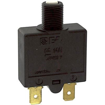 Circuit Breakers Single pole thermal reset circuit breaker in a miniature design intended for threadneck or snap-in mounting, dimensions: 32.0 x 27.0 x 13.6 mm. (1 piece)