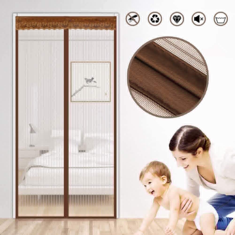 LAMZ Magnetic Screen Door for Garage Patio Balcony French Sliding Doors Close Automaticlly Easy Assembly Pet and Kid Friendly with Mesh Curtain Brown Heavy Duty Reinforced 0802