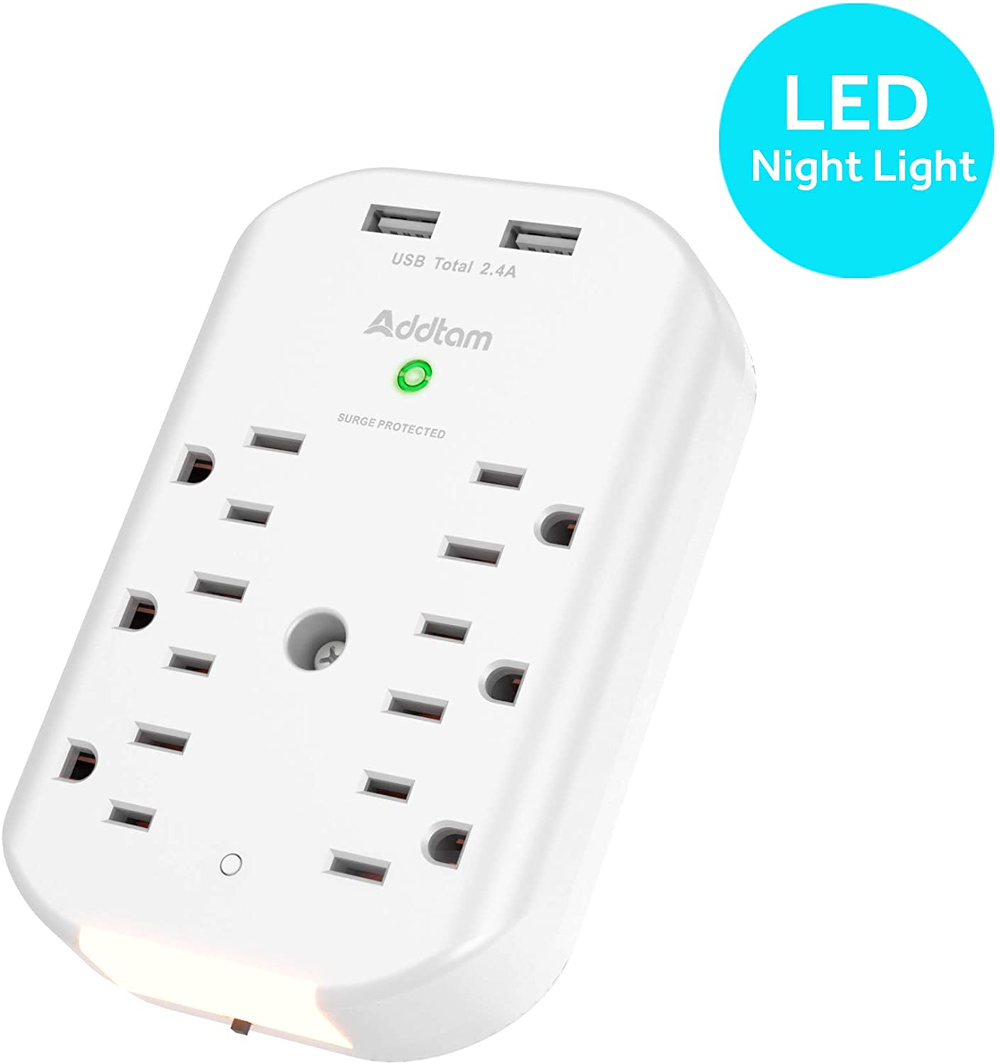 ADDTAM 6 Outlet Surge Protector, Wall Outlet Extender with Sensor Night Light, Multi Plug Outlet Wall Adapter Power Strip with 2 USB Charging Ports (2.4A) for Home, Travel, Office, Hotel, ETL Approved