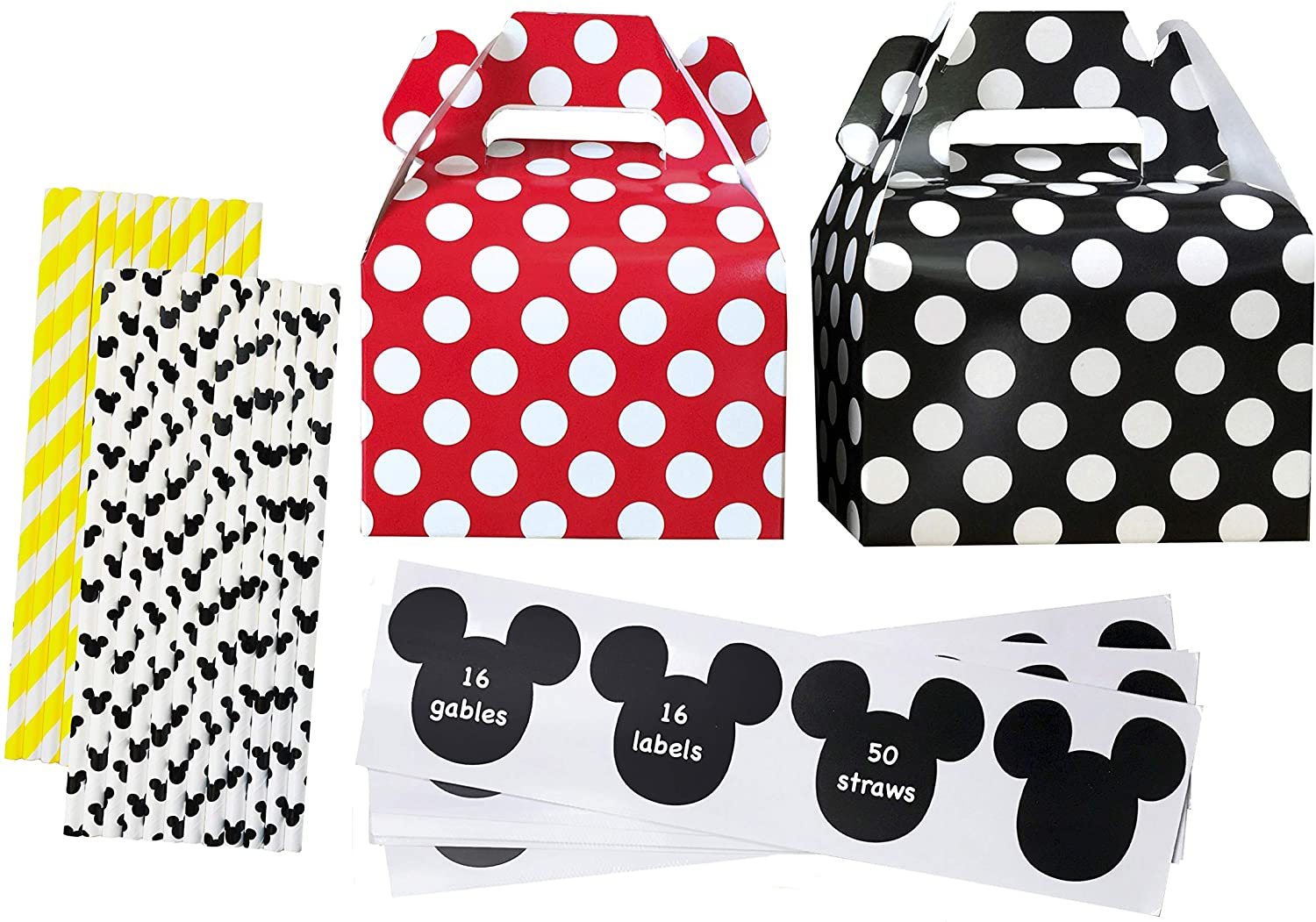 Mickey Mouse Theme Party Kit - 16 Gable Treat Boxes - 16 Mickey Mouse Theme Vinyl Chalkboard Labels - 50 Paper Straws - Red Black Yellow White