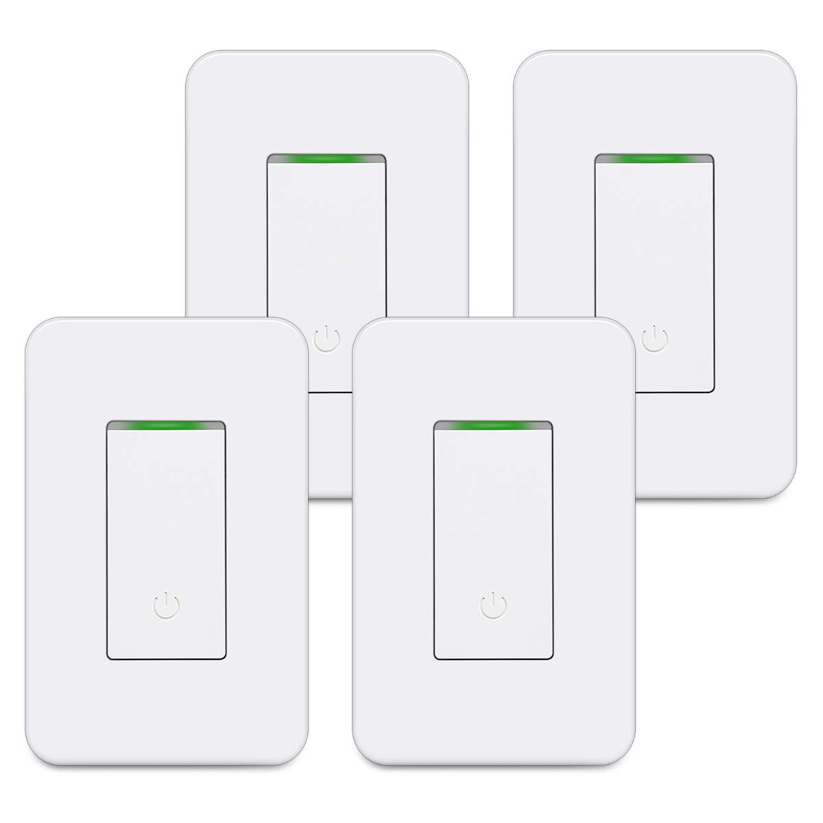 [4 Pack] BESTTEN Single Pole WiFi Light Switch, Smart Wall Switch with Remote Control and Timer Functions, Compatible with Alexa/Google Assistant/IFTTT, No Hub Required, ETL & FCC Approved