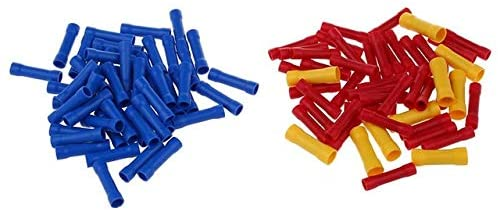 Davitu Terminals - Hot 100 Pieces crimp splices insulated butt connectors cable connectors industrial goods blue+red+yellow - (Color: Picture)