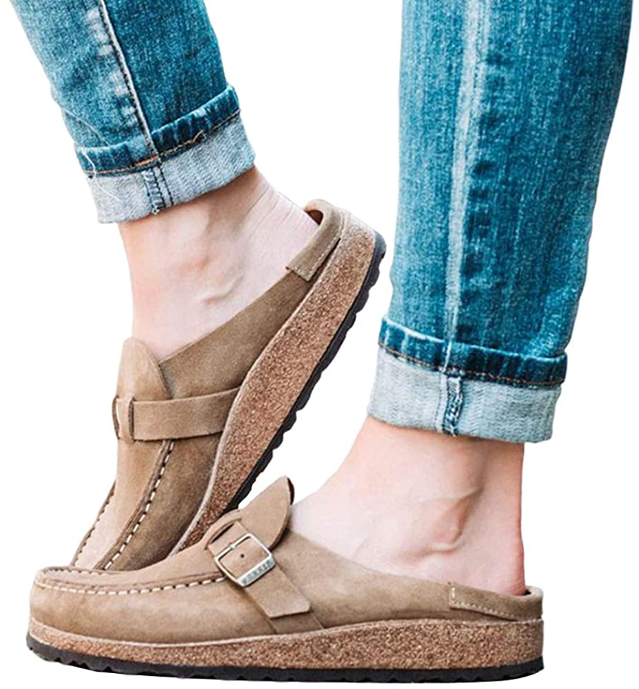 Puimentiua Womens Boston Soft Footbed Clogs Mules Suede Slip On Leather Clogs Loafer Flat Closed Toe Backless Slippers.