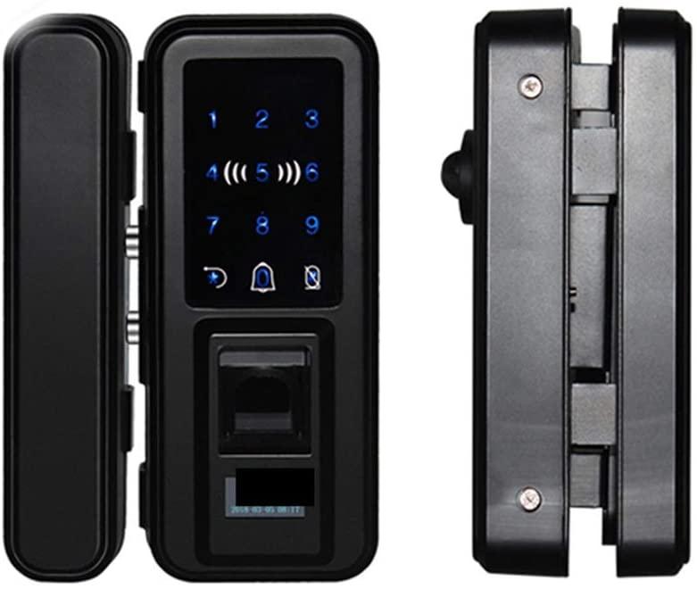 Digital Power Monitor Meter Intelligent Keyless Glass Fingerprint Door Lock with Remote Control App Password (Color : Black, Size : One Size)