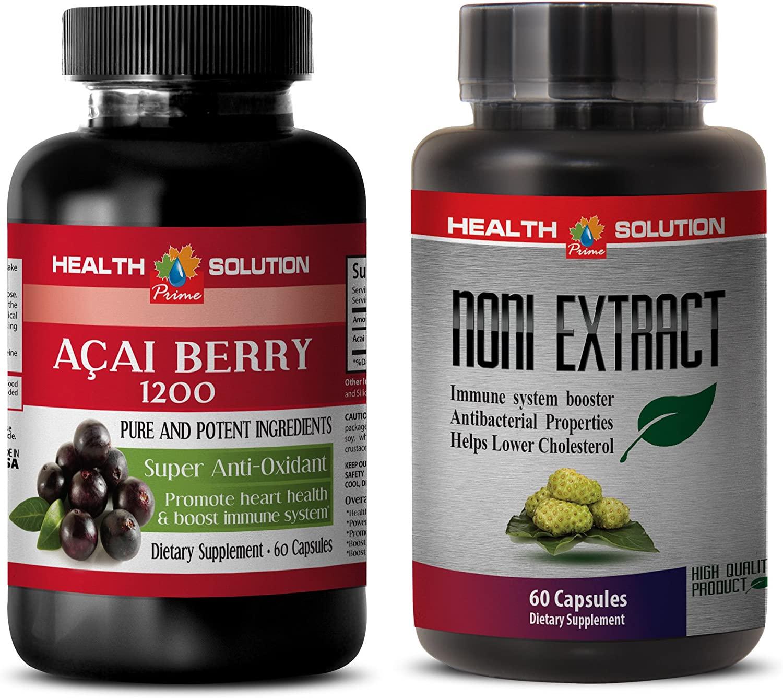 antioxidant Liquid Supplement - ACAI Berry - NONI - noni Leaf Extract - 2 Bottles Combo 120 Capsules