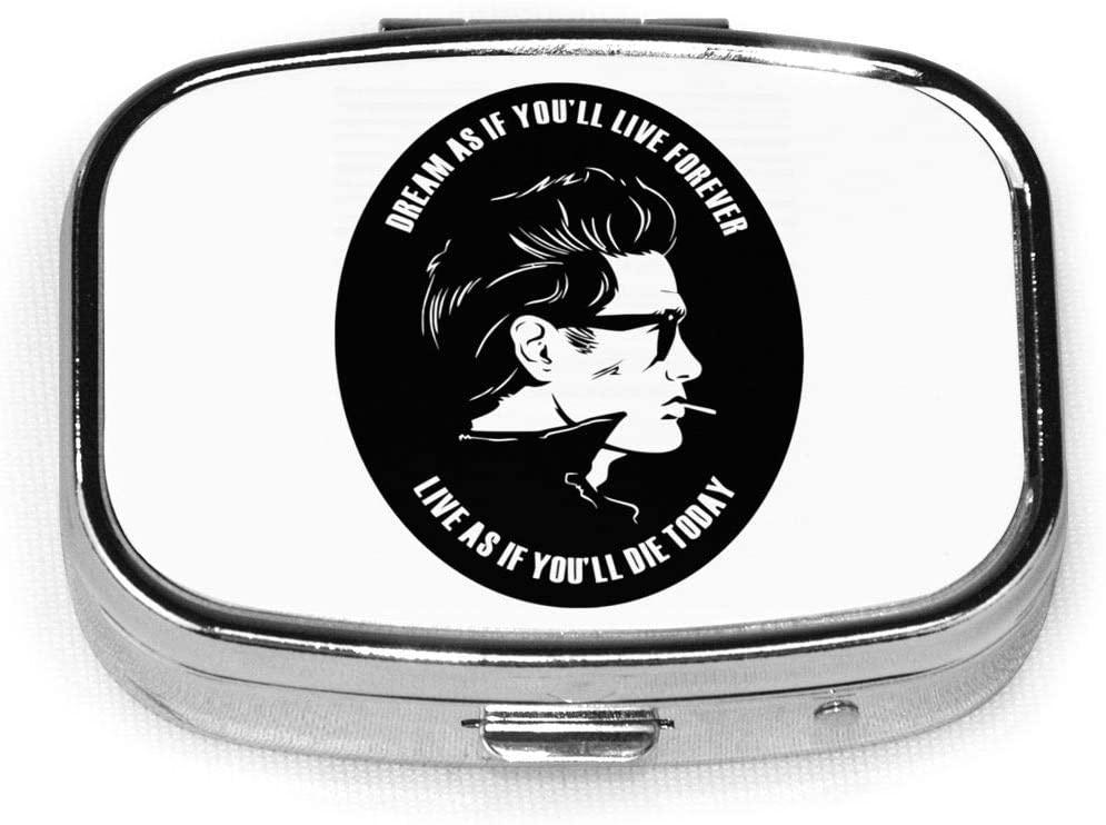 James Dean Custom Fashion Silver Square Pill Box Medicine Tablet Holder Wallet Organizer Case for Pocket Or Purse