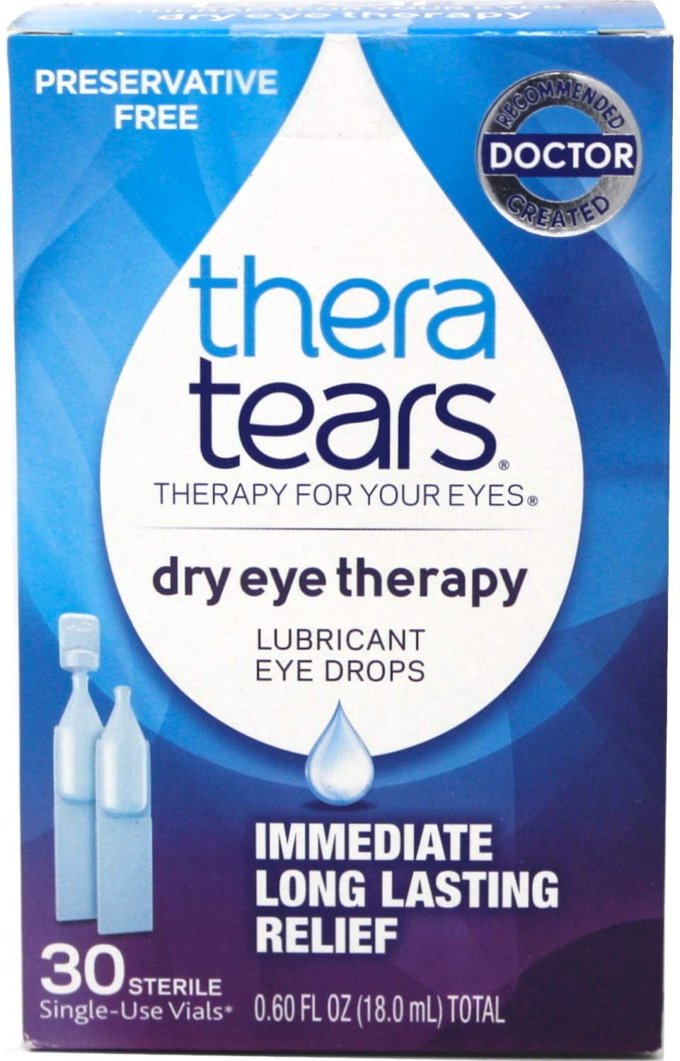Thera Tears Dry Eye Therapy Lubricant Eye Drops, 32 Single-Use Vials Per Pack (Pack of 3)