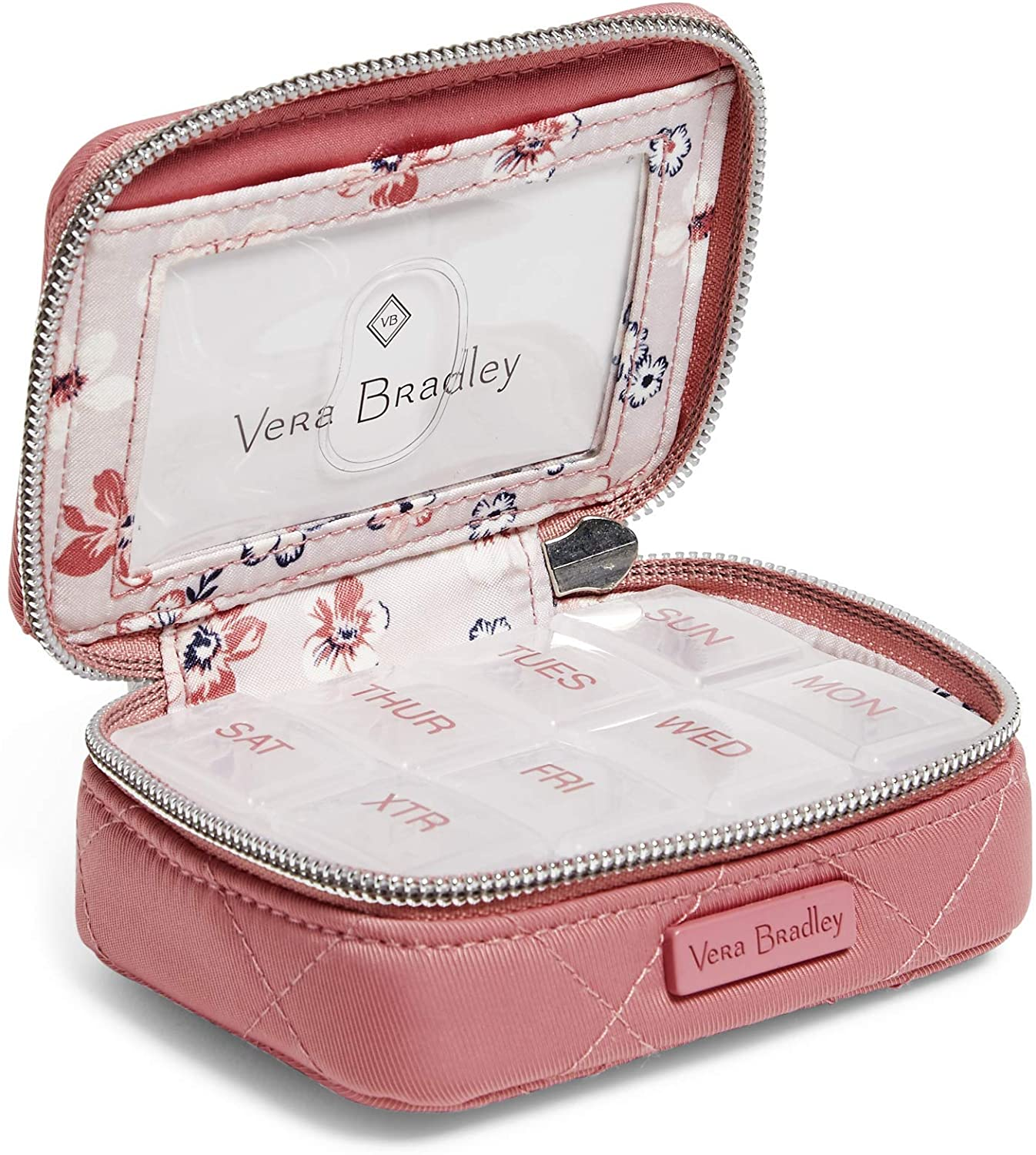 Vera Bradley Women's Performance Twill Travel Pill Case, Strawberry Ice, One Size