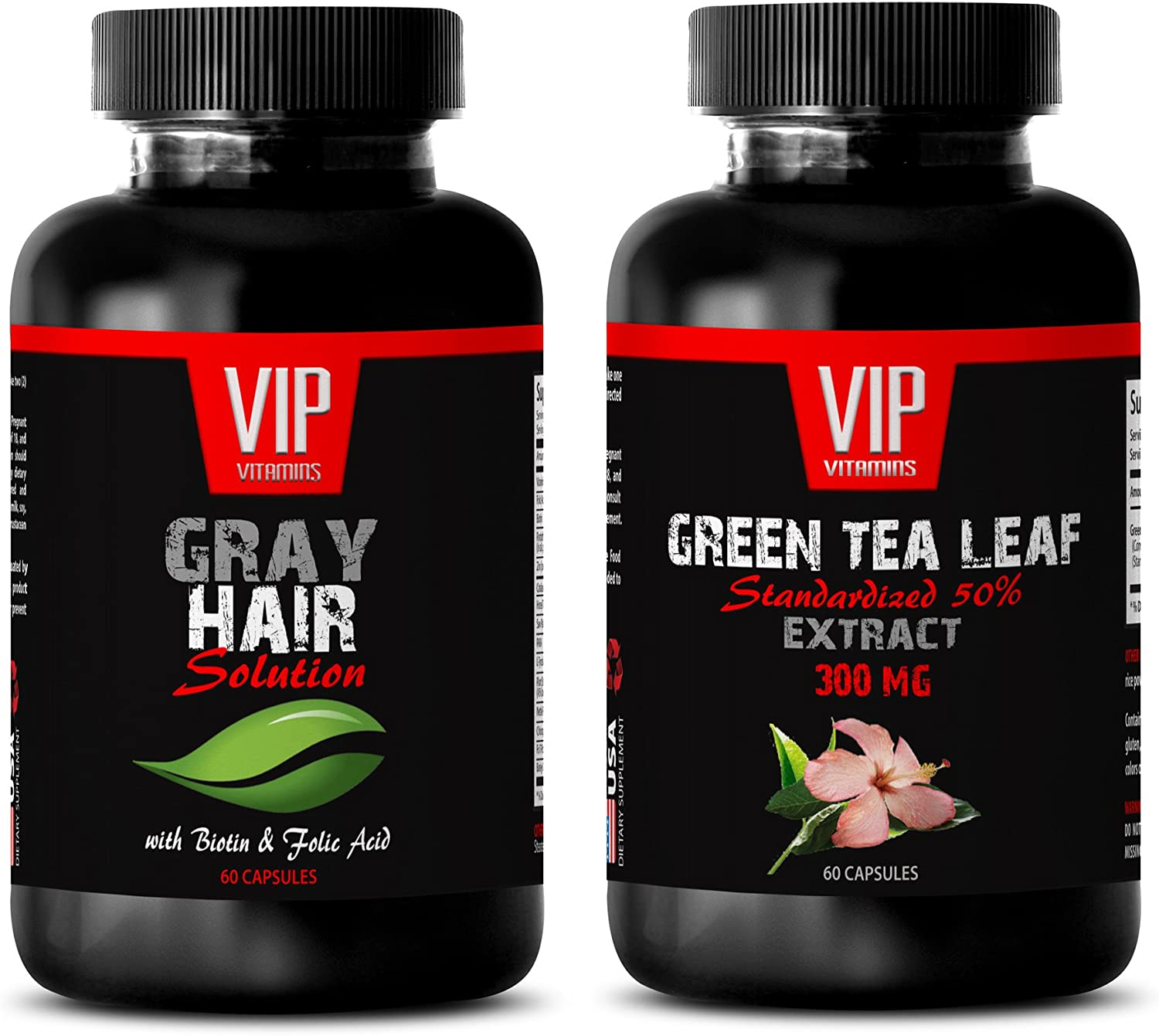 Immune Support Booster - Gray Hair Solution - Green Tea - Green Tea Cleanse - (2 Bottles Combo)