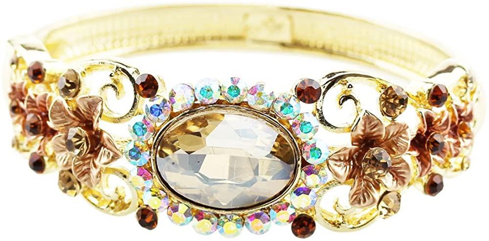 FOY-MALL Cloisonne Champagne Crystal Bangle Bracelet E1364M
