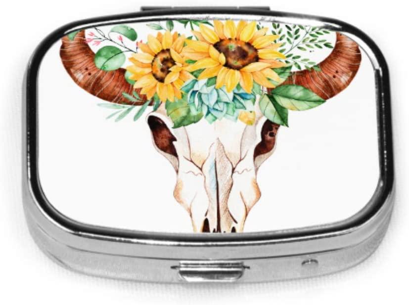 Bull Head Skull with Flowers Pill Cases for Kids Travel Medicine Case Tablet Holder Wallet Organizer Case for Pocket Or Purse