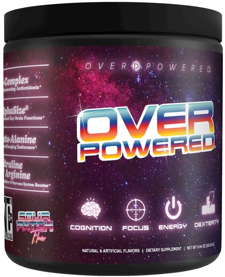 Overpowered - Gaming Performance Supplement - Cognition, Focus, Energy and Dexterity - Sour Patch Flavor, 30 Servings Powder