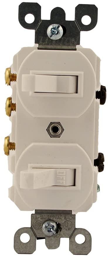Leviton 5241-W 15 Amp, 120/277 Volt, Duplex Style Single-Pole/3-Way Ac Combination Switch, Commercial Grade, White