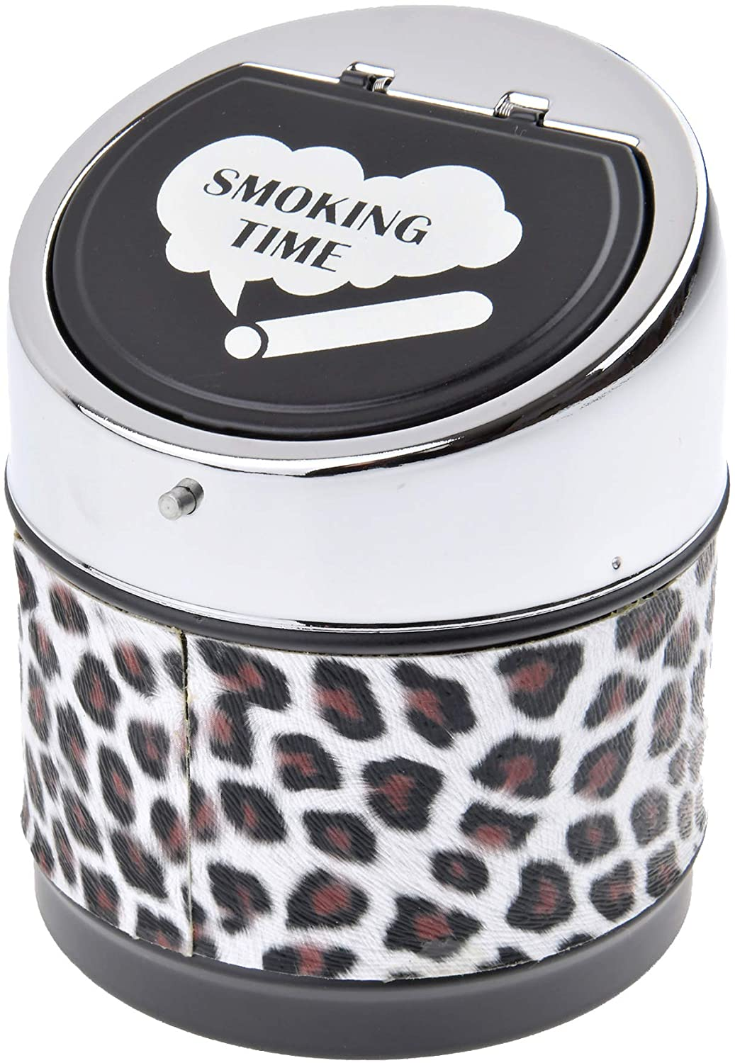 Quantum Abacus Round Windproof Ashtray Made of Metal and PU Leather, with lid, Animal Print Pattern, Colour: Brown, Mod. 982BF-04